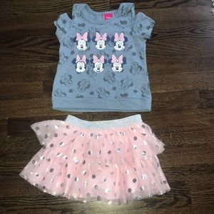 Minnie Mouse cold shoulder skirt outfit